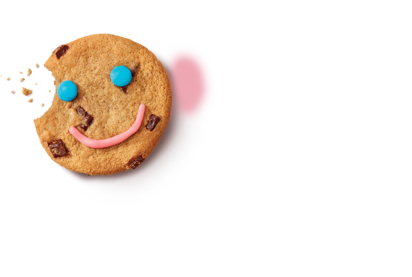 A Smile Cookie with a bite taken
